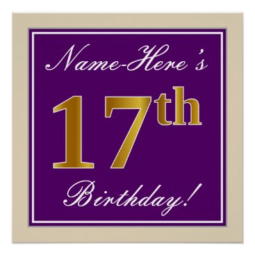 Art Themed Elegant, Purple, Faux Gold 17th Birthday   Name Poster
