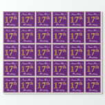 [ Thumbnail: Elegant, Purple, Faux Gold 17th Birthday + Name Wrapping Paper ]