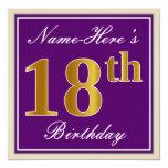 [ Thumbnail: Elegant, Purple, Faux Gold 18th Birthday + Name Invitation ]