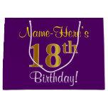 [ Thumbnail: Elegant, Purple, Faux Gold 18th Birthday + Name Gift Bag ]