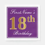 [ Thumbnail: Elegant Purple, Faux Gold 18th Birthday + Name Paper Napkin ]
