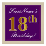 [ Thumbnail: Elegant, Purple, Faux Gold 18th Birthday + Name Poster ]
