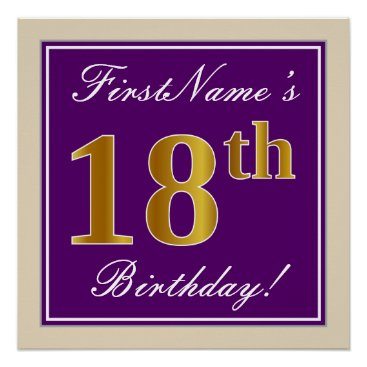 Art Themed Elegant, Purple, Faux Gold 18th Birthday   Name Poster