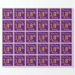 [ Thumbnail: Elegant, Purple, Faux Gold 18th Birthday + Name Wrapping Paper ]