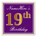 [ Thumbnail: Elegant, Purple, Faux Gold 19th Birthday + Name Invitation ]