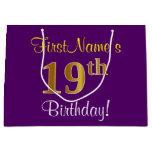 [ Thumbnail: Elegant, Purple, Faux Gold 19th Birthday + Name Gift Bag ]