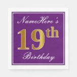 [ Thumbnail: Elegant Purple, Faux Gold 19th Birthday + Name Paper Napkin ]