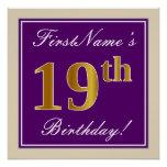 [ Thumbnail: Elegant, Purple, Faux Gold 19th Birthday + Name Poster ]