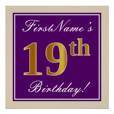 Art Themed Elegant, Purple, Faux Gold 19th Birthday   Name Poster