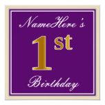 [ Thumbnail: Elegant, Purple, Faux Gold 1st Birthday + Name Invitation ]