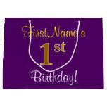 [ Thumbnail: Elegant, Purple, Faux Gold 1st Birthday + Name Gift Bag ]