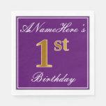[ Thumbnail: Elegant Purple, Faux Gold 1st Birthday + Name Paper Napkin ]