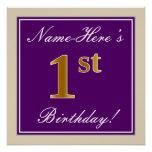 [ Thumbnail: Elegant, Purple, Faux Gold 1st Birthday + Name Poster ]