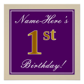 Elegant, Purple, Faux Gold 1st Birthday + Name Poster