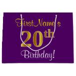 [ Thumbnail: Elegant, Purple, Faux Gold 20th Birthday + Name Gift Bag ]