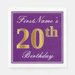 [ Thumbnail: Elegant Purple, Faux Gold 20th Birthday + Name Paper Napkin ]