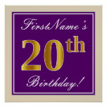 [ Thumbnail: Elegant, Purple, Faux Gold 20th Birthday + Name Poster ]