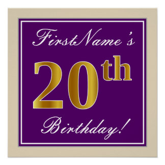 Elegant, Purple, Faux Gold 20th Birthday + Name Poster