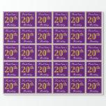 [ Thumbnail: Elegant, Purple, Faux Gold 20th Birthday + Name Wrapping Paper ]