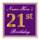 [ Thumbnail: Elegant, Purple, Faux Gold 21st Birthday + Name Invitation ]