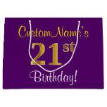[ Thumbnail: Elegant, Purple, Faux Gold 21st Birthday + Name Gift Bag ]
