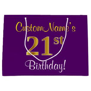 Elegant Purple Faux Gold 21st Birthday Name Large Gift Bag