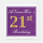 [ Thumbnail: Elegant Purple, Faux Gold 21st Birthday + Name Napkin ]