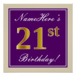 [ Thumbnail: Elegant, Purple, Faux Gold 21st Birthday + Name Poster ]