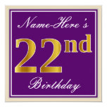 [ Thumbnail: Elegant, Purple, Faux Gold 22nd Birthday + Name Invitation ]