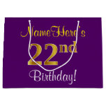 [ Thumbnail: Elegant, Purple, Faux Gold 22nd Birthday + Name Gift Bag ]