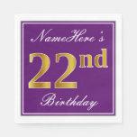 [ Thumbnail: Elegant Purple, Faux Gold 22nd Birthday + Name Napkin ]