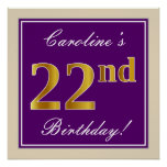 [ Thumbnail: Elegant, Purple, Faux Gold 22nd Birthday + Name Poster ]