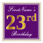 [ Thumbnail: Elegant, Purple, Faux Gold 23rd Birthday + Name Invitation ]