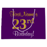 [ Thumbnail: Elegant, Purple, Faux Gold 23rd Birthday + Name Gift Bag ]