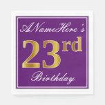 [ Thumbnail: Elegant Purple, Faux Gold 23rd Birthday + Name Napkin ]