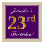 [ Thumbnail: Elegant, Purple, Faux Gold 23rd Birthday + Name Poster ]
