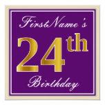 [ Thumbnail: Elegant, Purple, Faux Gold 24th Birthday + Name Invitation ]