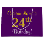 [ Thumbnail: Elegant, Purple, Faux Gold 24th Birthday + Name Gift Bag ]