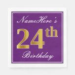 [ Thumbnail: Elegant Purple, Faux Gold 24th Birthday + Name Napkin ]