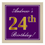 [ Thumbnail: Elegant, Purple, Faux Gold 24th Birthday + Name Poster ]