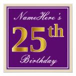 [ Thumbnail: Elegant, Purple, Faux Gold 25th Birthday + Name Invitation ]