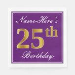 [ Thumbnail: Elegant Purple, Faux Gold 25th Birthday + Name Paper Napkin ]