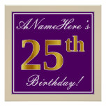 [ Thumbnail: Elegant, Purple, Faux Gold 25th Birthday + Name Poster ]