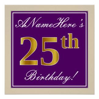 Elegant, Purple, Faux Gold 25th Birthday + Name Poster