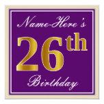 [ Thumbnail: Elegant, Purple, Faux Gold 26th Birthday + Name Invitation ]
