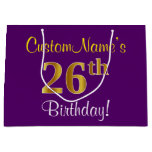 [ Thumbnail: Elegant, Purple, Faux Gold 26th Birthday + Name Gift Bag ]
