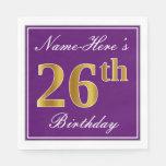 [ Thumbnail: Elegant Purple, Faux Gold 26th Birthday + Name Napkin ]
