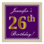 [ Thumbnail: Elegant, Purple, Faux Gold 26th Birthday + Name Poster ]