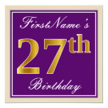 [ Thumbnail: Elegant, Purple, Faux Gold 27th Birthday + Name Invitation ]