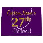 [ Thumbnail: Elegant, Purple, Faux Gold 27th Birthday + Name Gift Bag ]